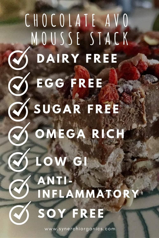 Chocolate Avo Mousse stack - healthy vegan dessert recipe