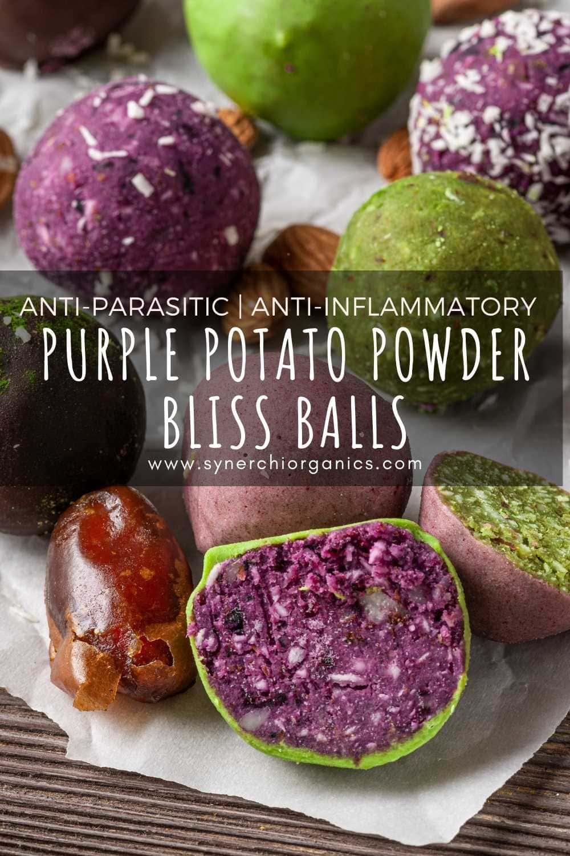 purple potato powder bliss balls